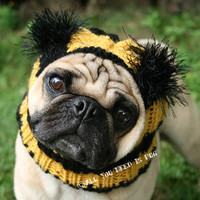 Dog Hat   Bumble Bee Hat  The Original Pug Hat by jessicalynneart
