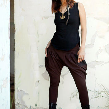 Pixie Harem Pants, Drop-Crotch Pants, Brown Yoga Pants