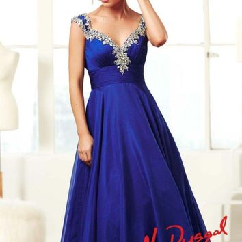 Mac Duggal 64639 Royal Blue Prom Pageant Gown Dress sz 2