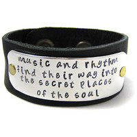 Hand Stamped Leather Cuff Music and Rhytum by geekdecree on Etsy
