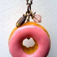 Pink donut necklace long chain food jewelry by MyLittleBlueDot