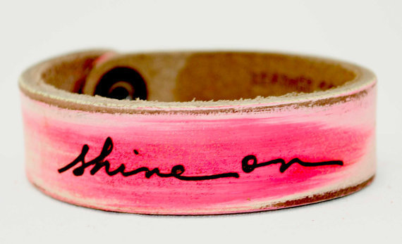 Artist&#x27;s Script SHINE ON neon pink &amp; white by LeatherCoutureLV