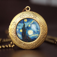 Van Gogh starry night vintage pendant locket necklace Van Gogh starry night locket necklace