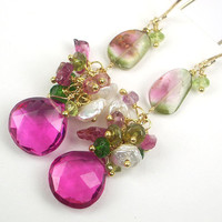 Watermelon Tourmaline Cluster Earrings by DoolittleJewelry on Etsy