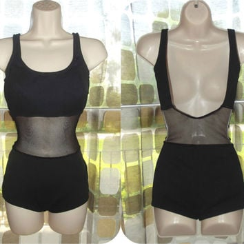 Vintage 60s RARE Scandal Sheer Mesh Fishnet Open Waist Swimsuit 1 Pc Pin-Up Black Illusion 50s