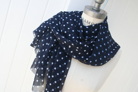 Polka Dot scarf FREE SHIPPING Navy Blue Fabric White by PIYOYO