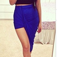Royal Blue Ruched Twisted Asymmetric High Low Hem Mini Maxi Skirt