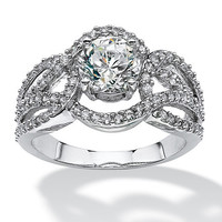 2.76 TCW Round Cubic Zirconia Loop Shank Engagement Ring in Sterling Silver on PalmBeach Jewelry