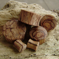 Real gauge,Natural  wood,hand made,tribal,plugs,20mm,22mm,organic