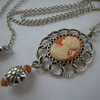 Carnelian Cameo Antique Silver on Old Setting Necklace 28 Inch | norycloset - Jewelry on ArtFire