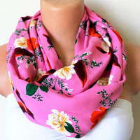 Flower Garden Pink Loop Infinity Scarf Soft and by fairstore