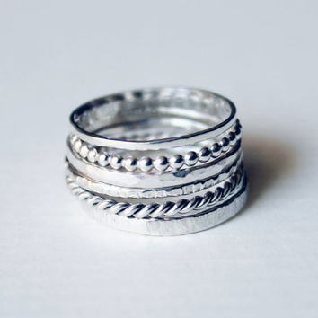 Sterling Silver Stacking Ring Set of (3) Hammered / Textured / High polished