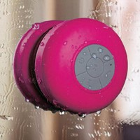 HDE Mini Wireless Rechargeable Handsfree Speakerphone Bluetooth Music Streaming Waterproof Shower Speaker + Suction Cup (Pink)