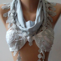 Ivory grey Elegance Shawl / Scarf with Lacy Edge by womann