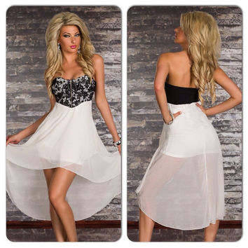 Sexy Black White Lace Overlay Hi Low Dress