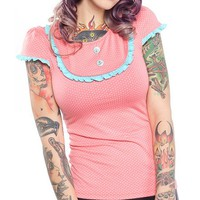 "Women's ""Sweet Sailor"" Patsy Top by Sourpuss Clothing (Pink)"