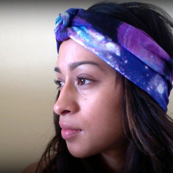 Galaxy Print jersey stretch Hair Turban-Headband
