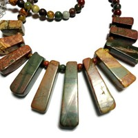 Necklace Picasso Jasper Bold Chunky Handmade Fashion Jewelry OOAK