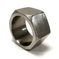 Nut ring hexagonal stainless steel ring unisex by LogicFreeDesign