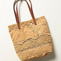 Free People Womens Pieced Crochet Tote - Tea, One Size