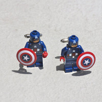 Captain America Cuff links Lego cufflinks handmade by Polyester10