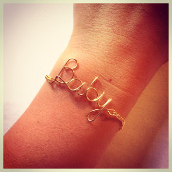 Baby Bracelet Wire Script with Gold Chain