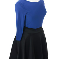 Plus Size Sexy Blue Flared Black Skirt Dress, Plus Size Clothing, Club Wear, Dresses, Tops, Sexy Trendy Plus Size Women Clothes