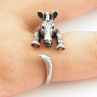 Vintage-Silver Zebra Wrap Ring | KejaJewelry - Jewelry on ArtFire