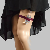 Adjustable Single Shot Garter - Carmine Red- toss garter - alcohol not included