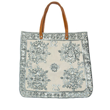 Bella Embroidery Canvas Tote in Silver – Me & Ms Georgie
