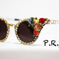 Victorian Inspired Caged Cateye Sunglasses with Rosette & Gold Rhinestone