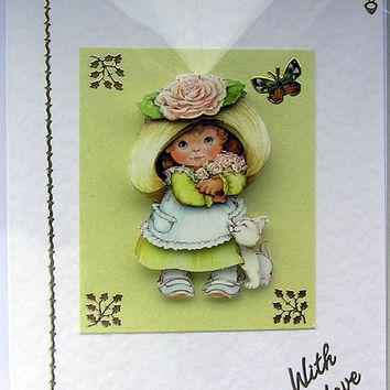 Hand-Crafted 3D Decoupage Card - With Love (1652)