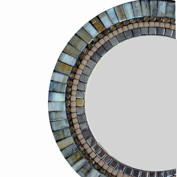 Accent Mirror / Round Wall Decor / Mosaic Mirror / Blue, Brown, Gray