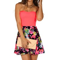 Neon Coral Strapless Floral
