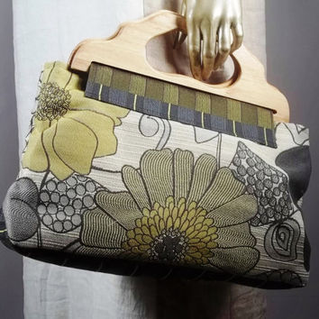 Large hand bag, purse bag,wooden handles. Tapestry,floral print, gray, mustard yellow. Lined, 10 inner pockets. Free shipping in the USA.