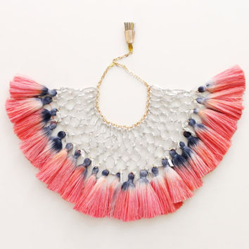 ALBATROSS / Woven leather & Dyed ombre tassel tribal statement necklace - Ready to Ship