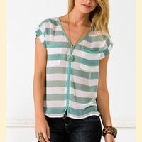 Sea Foam Stripes Blouse