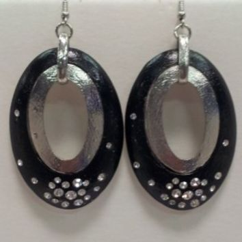 Black Oval Earrings