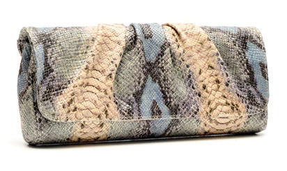 Lauren Merkin Caroline multi python clutch in blue