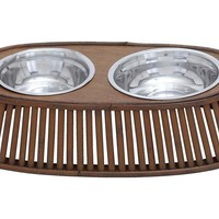Bamboo Pet Feeder, Brown, Feeders