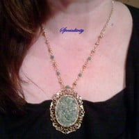 Antique framed green quartz druzy necklace | specialtivity - Jewelry on ArtFire