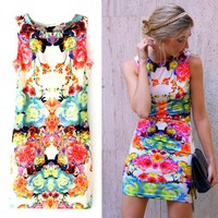 Sheinside Women's Sleeveless Floral Bodycon Dress