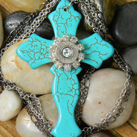 Turquoise Cross Necklace, Bullet Necklace, Bullet Cross Necklace, Outlaw Glam