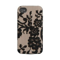 Girly Chic fashion Lace  flowers photo print Tough Iphone 4 Case from Zazzle.com