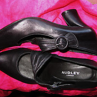 AUDLEY SHOES BLACK LEATHER MARY JANES HIGH HEELS  ! S 6 M/36.5 !MADE IN SPAIN