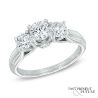1-1/2 CT. T.W. Diamond Past Present Future® Engagement Ring in 14K White Gold - View All Rings - Zales