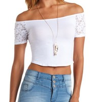 LACE SLEEVE OFF-THE-SHOULDER CROP TOP