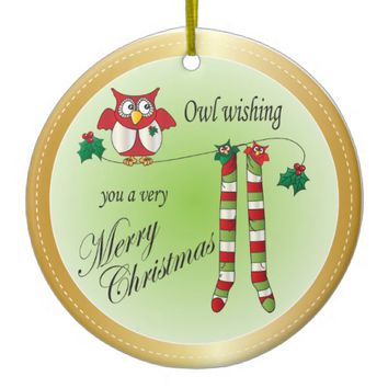 Owl Wish You a Merry Christmas Ornament