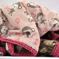 Monkey fun in pink and brown crochet baby blanket, granny square reversible crochet baby blanket