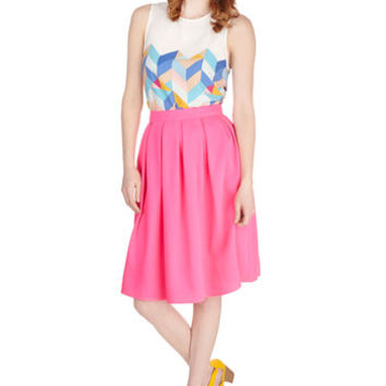 ModCloth Neon Mid-length Full Going Neon and On Skirt